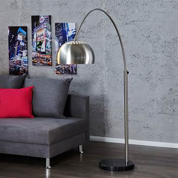 "Design BogenLAMPE ""BIG BOW CHROM"" gebürstet ohne DIMMER"