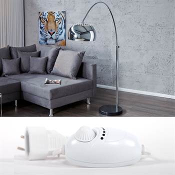 "Lounge Design Stehlampe ""BIG BOW CHROM"" mit Dimmer silber"