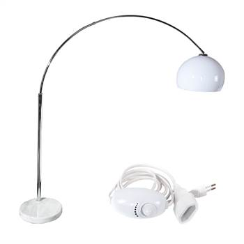 "Lounge Retro Design Stehlampe ""BIG BOW"" Bogenlampe mit Dimmer weiss"