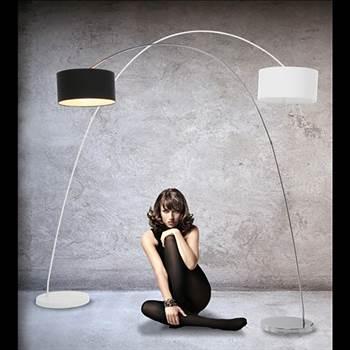 """Design Bogenlampe """"Schwanenhals"""" Lampe mit Dimmer schwarz"""