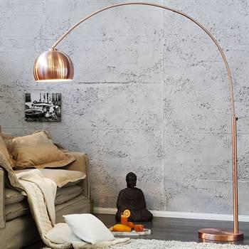 """Design Bogenlampe """"BIG BOW"""" Stehlampe Kupfer ohne Dimmer"""