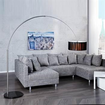 "Design Bogenlampe ""NEW YORK""  Stehlampe Nylon 224 cm schwarz"