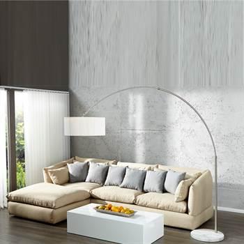 """Design Bogenlampe """"NEW YORK""""  Stehlampe Nylon 210 cm weiß"""