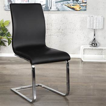 "Elegant cantilever ""LINEA"" dining chair with leatherette cover"