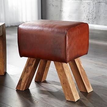 "Rustic stool ""RODEO"" massive wood real leather brown"