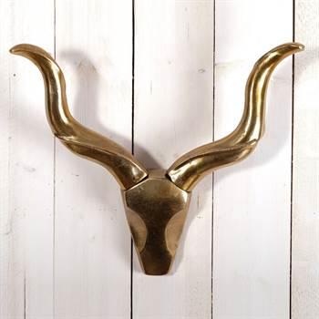 """Alu Geweih """"ROC"""" Tierkopf mit Hörnern Wanddekoration 55 cm gold"""