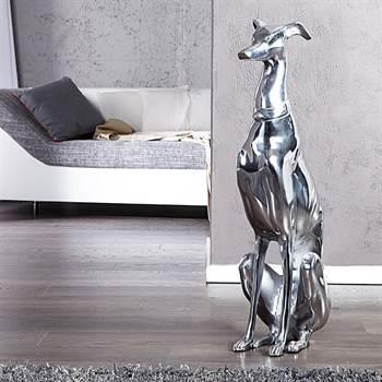 "Große Alu Skulptur ""WINDHUND"" | silber, 19x70x22 cm, Aluminium | Hund"