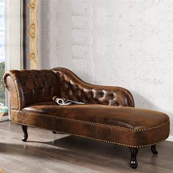 "Design Recamiere ""ROYAL"" Chaiselongue Kunstleder 170 cm Antik Look"