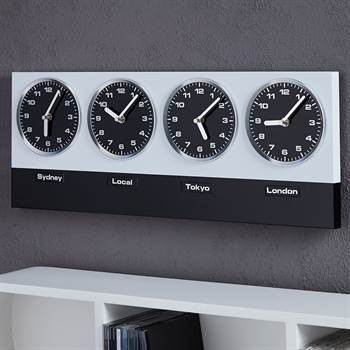 "MODERN WALL CLOCK ""GLOBAL"" with 4 clockworks and magnets silver black"