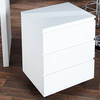 "Mobile filing drawer cabinet ""MOVE"" for office highgloss white"
