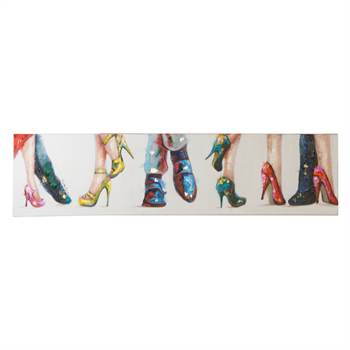 "Iconic oil painting ""HIGH HEELS"" 11,8x47"" 70s suits dresses bar"