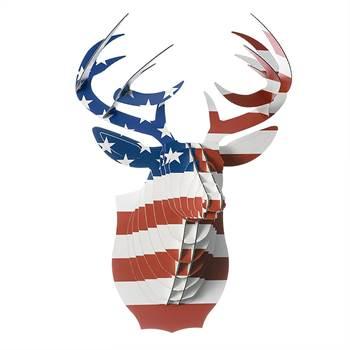 "3D Cardboard Safari ""BUCK THE DEER"" Print US flag medium"