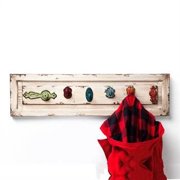"Charmante Wandgarderobe ""ROMANTIQUE"" 76 cm aus Holz 6 Haken"