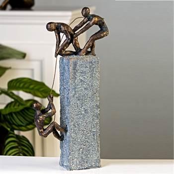 "Originelle Dekofigur ""CLIMBER"" Bergsteiger Skulptur 25 cm bronze/grau"