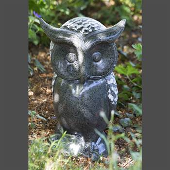 "Outdoor Dekofigur Eule ""HEDWIG"" | grau/weiß, 40cm, Kunststein | Garten"