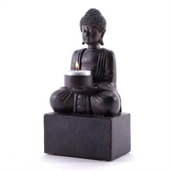 """Dekorativer Teelichthalter """"BUDDHA"""" Kerzenständer 24 cm antikgrau"""