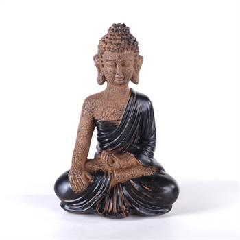"""Dekorative Buddha Figur """"ZEN"""" Skulptur aus Polystone 28 cm braun"""