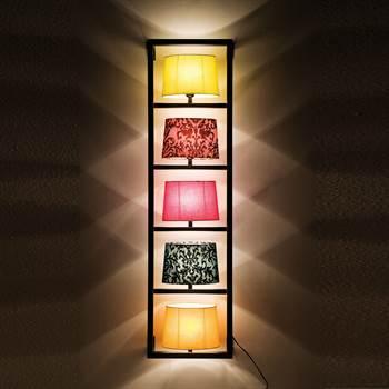 "Bunte Design Wandleuchte ""PARECCHI"" 5  Lampenschirme vertikal"