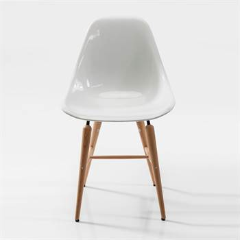 """Design Esszimmerstuhl """"GUSCIO"""" glanzvoller Sitz Buchenholzfüße"""