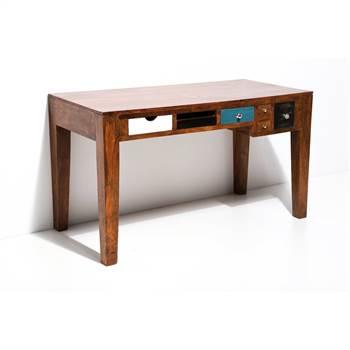 """Schreibtisch """"INDIA"""" MASSIV Holztisch 135 cm bunte Schubladen"""