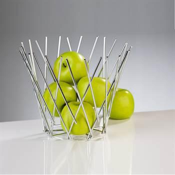 "Obstkorb ""MIKADO"" | Metall, 21 cm, silberfarben | Früchtekorb"