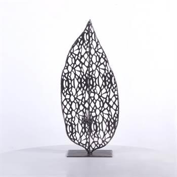 """Teelichthalter """"STRUCTURA S"""" 48,5 cm in blattform antik silber grau"""
