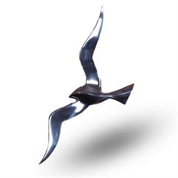 "eko Wandskulptur""VOGELFLUG"" | silber, 48 cm, Aluminium | Schwalbe"