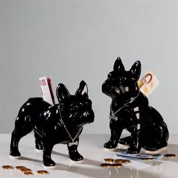 """Spardosen Set """"BULLI"""" Hundefiguren Bulldogge 17 cm schwarz"""