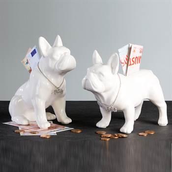 """Spardosen Set """"BULLI"""" Hundefiguren Bulldogge 17 cm weiß"""