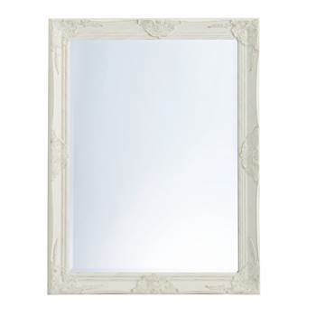"Barock Wandspiegel ""ALIZAH"" | weiß, 90x70x4,5 | Facettenschliff"
