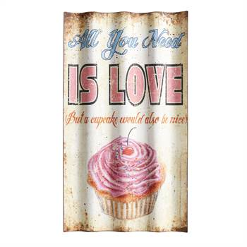 "Vintage Schild ""ALL YOU NEED IS LOVE ""  66x37 Bild gewellt mit Cupcake"