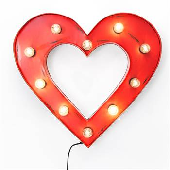 """Schillerndes Leuchtobjekt """"CUORE""""  in Herzform mit 10 Leuchtern rot"""
