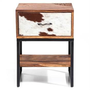 """Rustikaler Nachttisch """"TORO"""" braun Beistelltisch mit Schublade"""