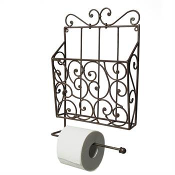 "Nostalgic toilet roll holder ""FERRO"" with magazine box antique-brown"