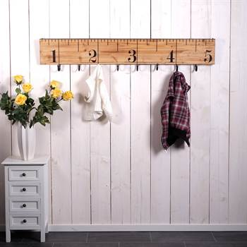 "Wooden wall coat hook ""RULER""  wardrobe with 8 hooks 54"""