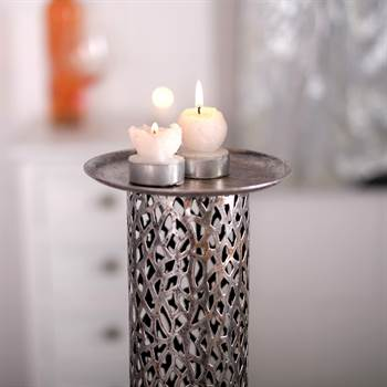 "Big candle holder ""ETERNAL"" candle stand metal 31.5"" antique-silver"