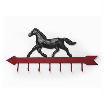 "WandgarderobeE ""GALOPP"" Wandgarderobe Pferd 99 cm Eisen 7 Haken"