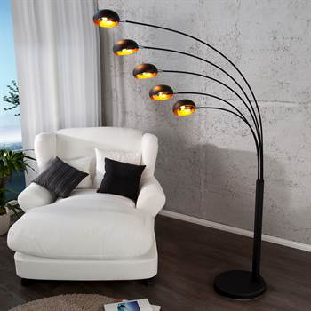 "Design Lounge Stehlampe ""5 FIVE FINGERS"" retro schwarz gold"