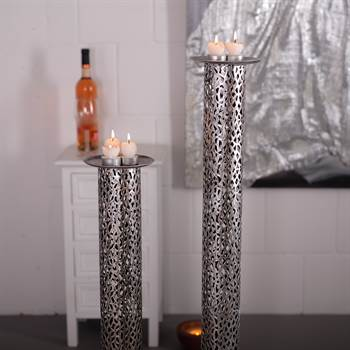"Candle holder set ""ETERNAL"" 2 pcs stand  metal 31.5""/39.5"" silver"