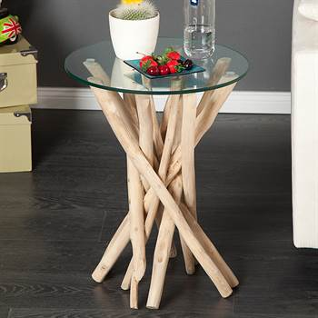 "Design side table ""MADEIRA"" living room table glass and wood"