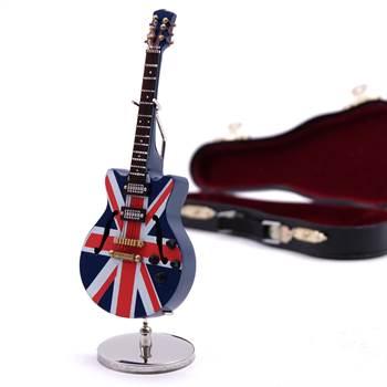 """Deko E-Gitarre """"BRITAIN"""" 14 cm auf Ständer mit britischer Flagge"""