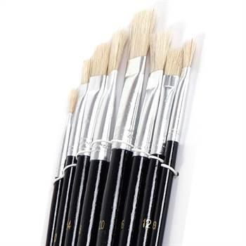 8 tlg. Malpinsel Set | eckig, Aluminium, versch. Größen | Naturhaar