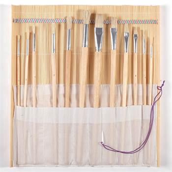 12 tlg. Malpinselset | Flach- und Rundpinsel | mit Bambusmatte