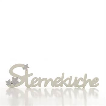 "Deko Schriftzug ""STERNEKÜCHE"" Wanddeko aus Holz weiß-grau 40 cm"