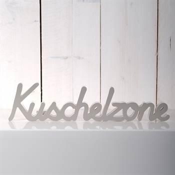 """Deko Schriftzug """"KUSCHELZONE"""" Holz weiß-grau 40 cm"""