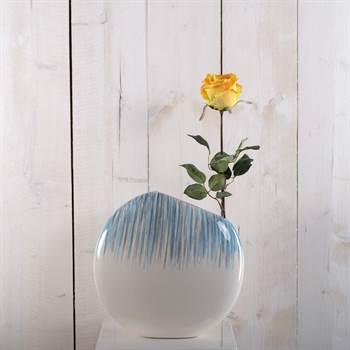 """Edle Design Vase""""RIO"""" Blumenvase aus Keramik 29 cm weiß, grau, blau"""