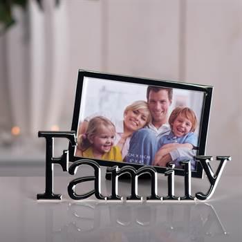 """Bilderrahmen """"FAMILY"""" Fotorahmen 10x15 cm silber"""