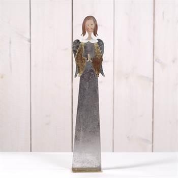 "Deko Figur ""ENGEL SARAH"" 41 cm Metall silber / champagner"