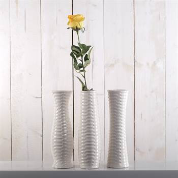 "Vasen-Set ""ATHENA"" 3 tlg. Blumenvase Dekofigur Porzellan weiß"