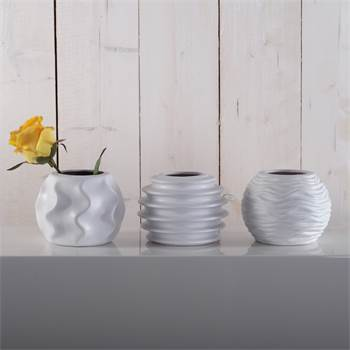 "Artful set of vases ""ROMA"" 3 pcs flower vase porcelain white"